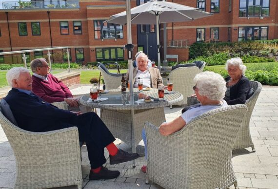 Pimms on the patio at The Red House Retirement Village