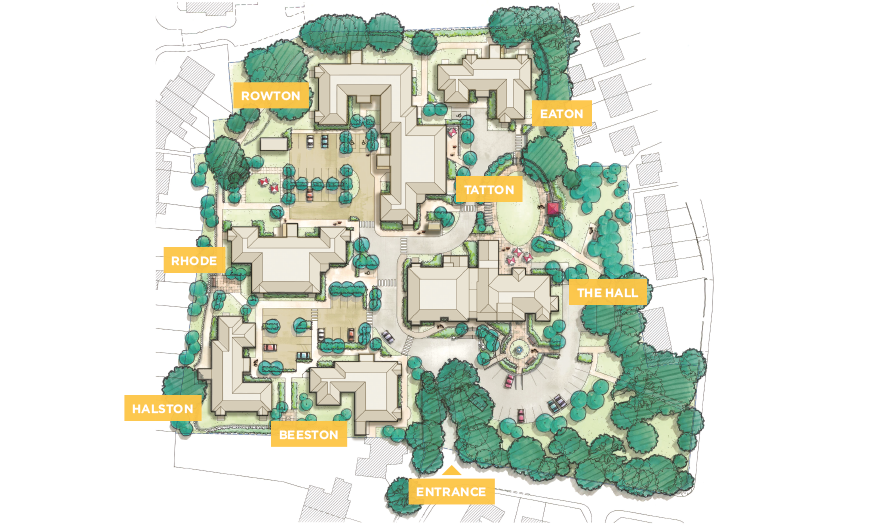 Siteplan of Boughton Hall retirement village in Chester Cheshire